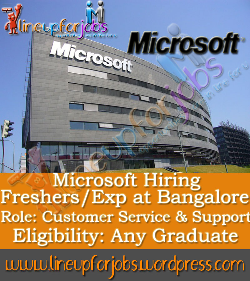 microsoft is hiring freshers  exp at bangalore for role of